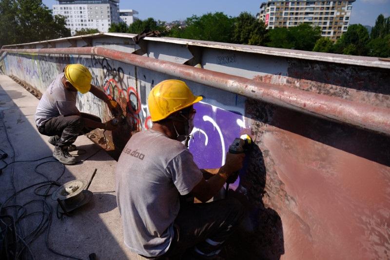 Počela sanacija pješačkog mosta na lokalitetu Otoka Meander (FOTO)
