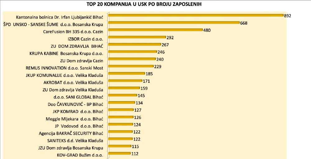 Veći broj firmi i veća dobit: Ovo je TOP 20 kompanija u Unsko-sanskom kantonu