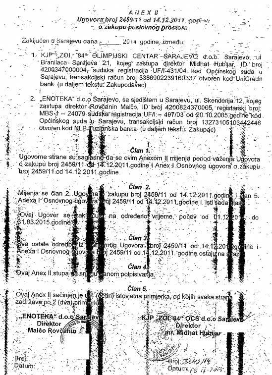 Anex ugovora sa Enotekom