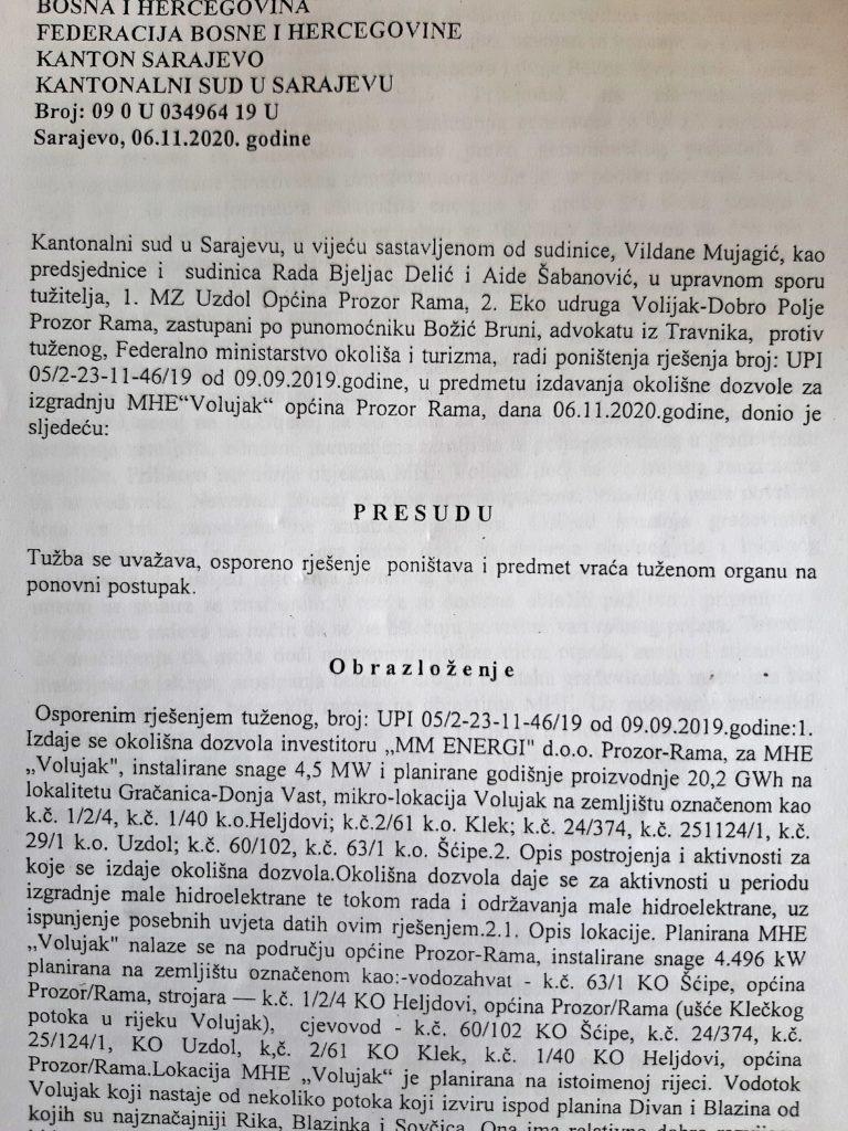 Uzdoljani i Donjevaščani dobili prvu bitku za spas rijeke i kanjona Volujak