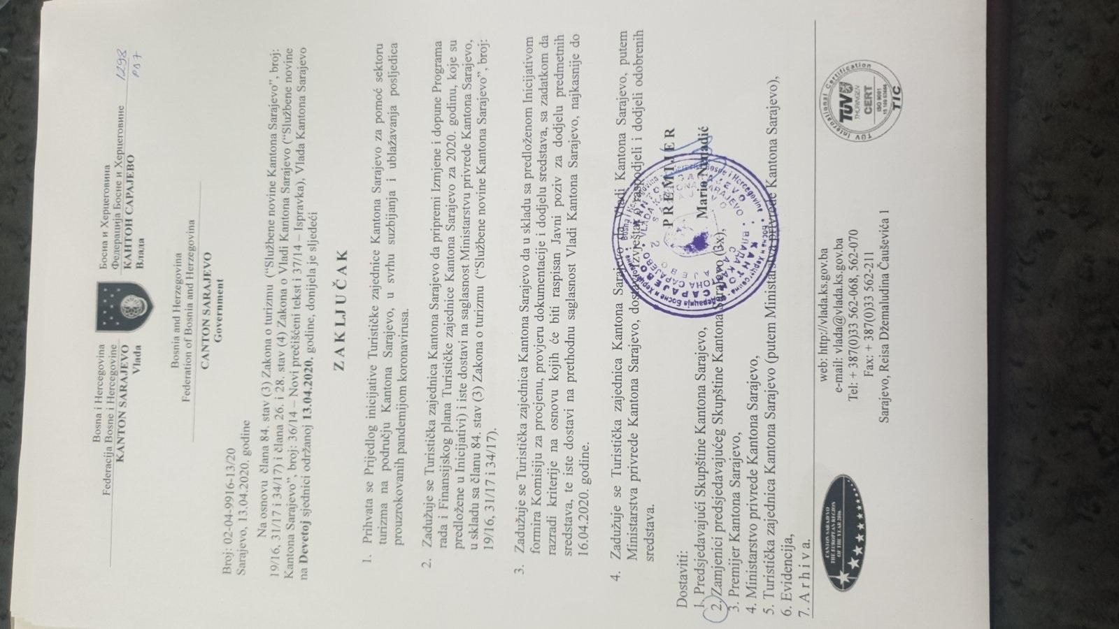 Vlada KS prihvatila prijedlog Turističke zajednice KS za pomoć sektoru turizma