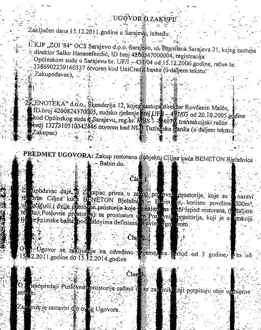 Ugovor o iznajmljivanju restorana Benetton potpisan sa Enotekom