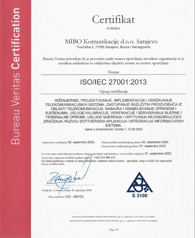 MIBO Komunikacije dobio certifikat za usklađenost prema ISO/IEC 27001:2013