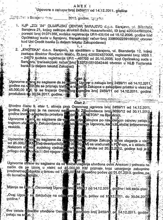 Anex ugovora o zakupu sa Enotekom