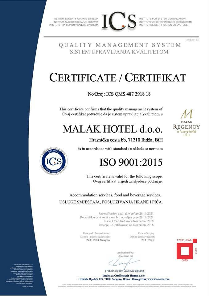 Malak Regency Hotel okončao proces certificiranja po međunarodnim standardima