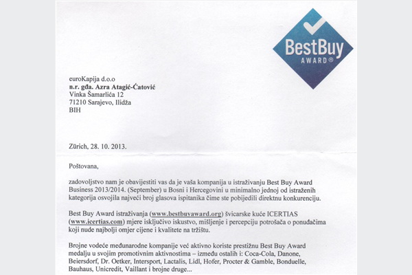 Novo priznanje: eKapija.ba dobitnik Best Buy Award nagrade