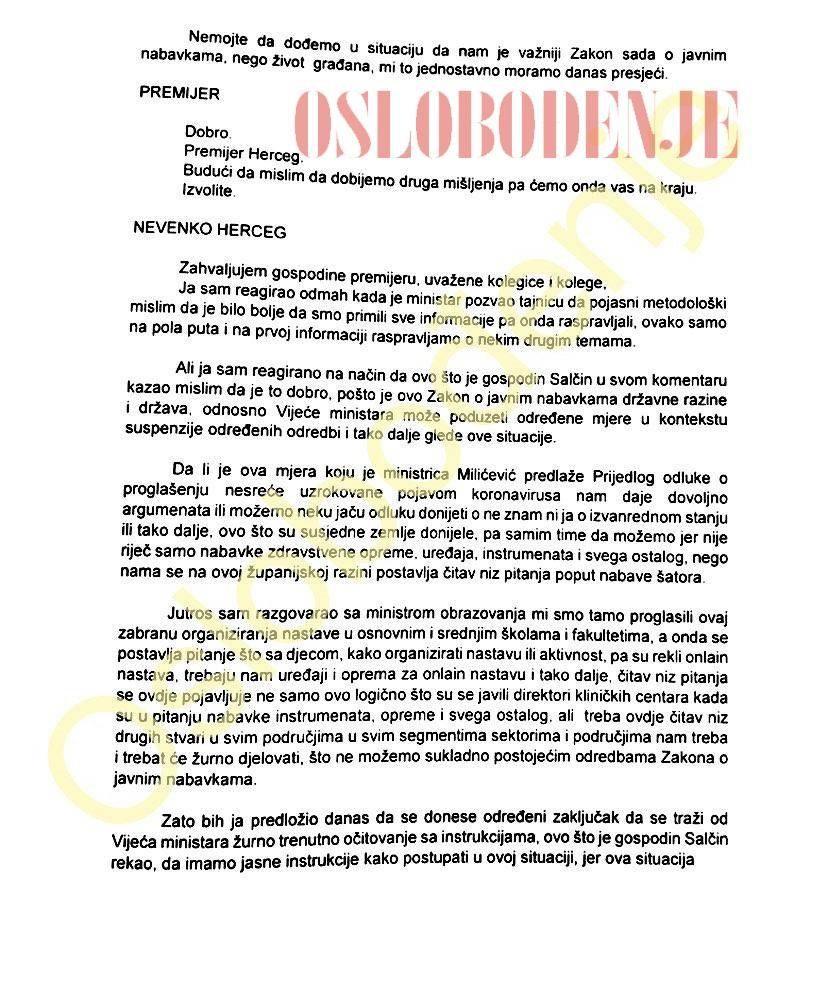 Objavljen stenogram sjednice Vlade FBiH o dogovoru za nabavku medicinske opreme