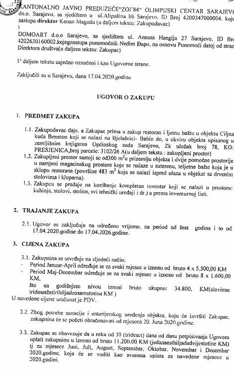 Ugovor o zakupu potpisan sa firmom Domoart