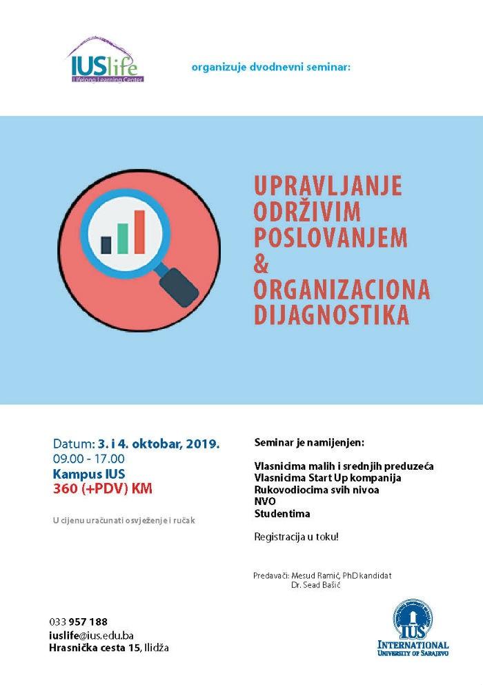 Seminar: Upravljanje održivim poslovanjem & Organizaciona dijagnostika