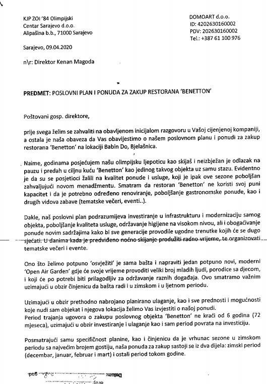 Ponuda o zakupu restorana Benetton