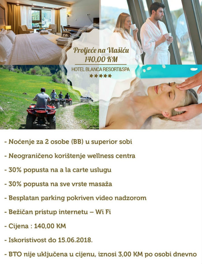 Proljeće na Vlašiću u Hotelu Blanca idealan lijek protiv užurbane svakodnevice