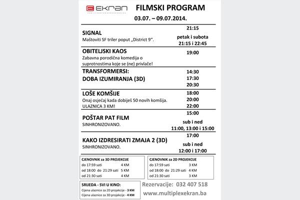 Filmski program od 03.07. do 09.07.2014 u Family Centru Ekran