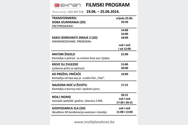 Kino program od 19.06. do 25.06.2014 u Family Centru Ekran