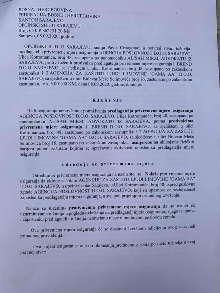 Slučaj Agencije Poslovnost: Sud naredio uklanjanje zaštitara, ali ne i blokova