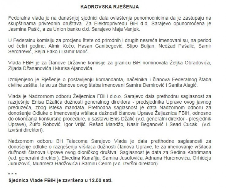 Kazna za članove NO 'Željeznica FBiH' jer su ispoštovali odluku Vlade FBiH?!