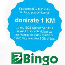 Kupovinom CHICovnika u Bingo marketima donirate 1 KM SOS Dječijim selima