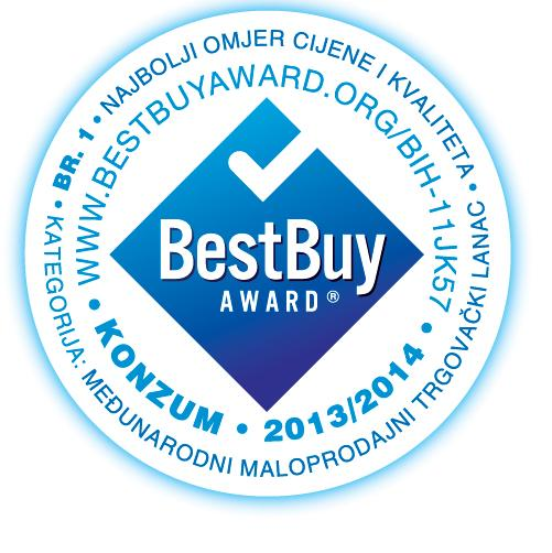 According to the results of the first Best Buy Award research by the Swiss ICERTIAS in BiH, Konzum is the winner of the Best Buy Award as an international retail chain with the best price and quality ratio in BiH in 2013/2014.