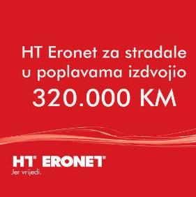 HT Eronet za stradale u poplavama izdvojio 320.000 KM