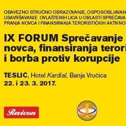 "Revicon organizuje IX forum ""Sprečavanje pranja novca, finansiranja terorizma i borba protiv korupcije"""