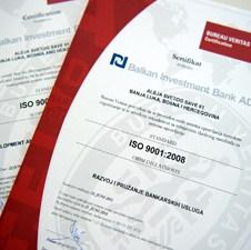 Balkan Investment Bank dobila certifikat ISO 9001:2008