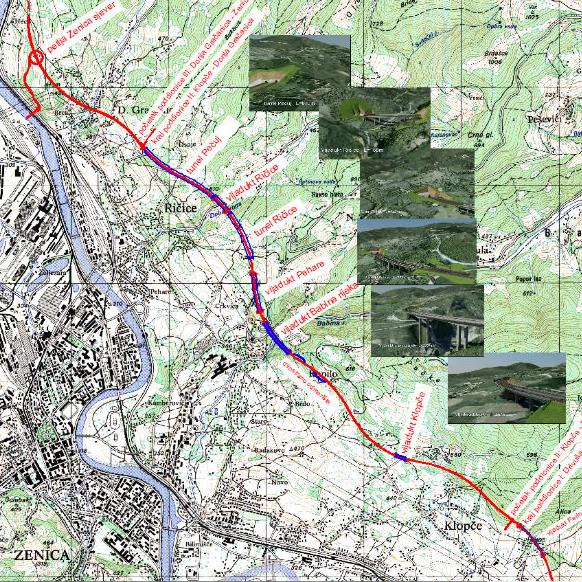 On the subsection Klopče - Donja Gračanica there are four viaducts, two tunnels and one rest stop. This is a subsection that passes through a very unfavorable morphological terrain.