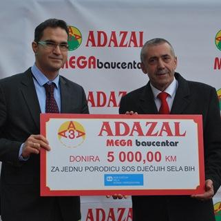 Adazal Mega Baucentar donirao 5.000 KM SOS Dječijim selima BiH