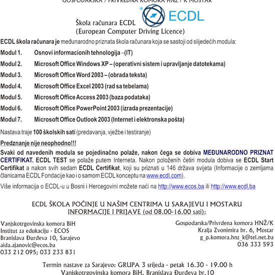 Pohađajte u Sarajevu i Mostaru ECDL - međunarodno priznatu školu računara u 146 država svijeta