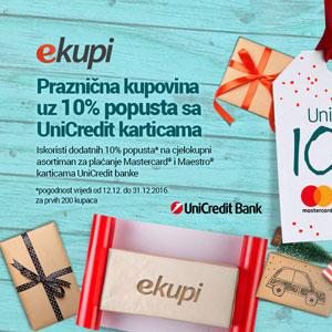 Praznična kupovina uz 10% popusta sa UniCredit karticama