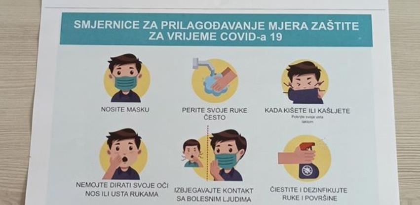 Posteri sa smjernicama za prilagođavanje mjerama zaštite za vrijeme Covid-a 19