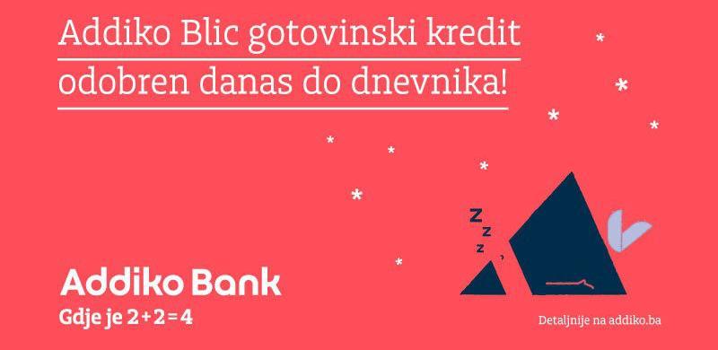 Addiko Blic gotovinski kredit - odobren danas do dnevnika!