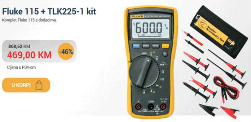 Komplet multimetar Fluke 115 sa mjernim vezicama TLK 225-1 sada sa 46% popusta!