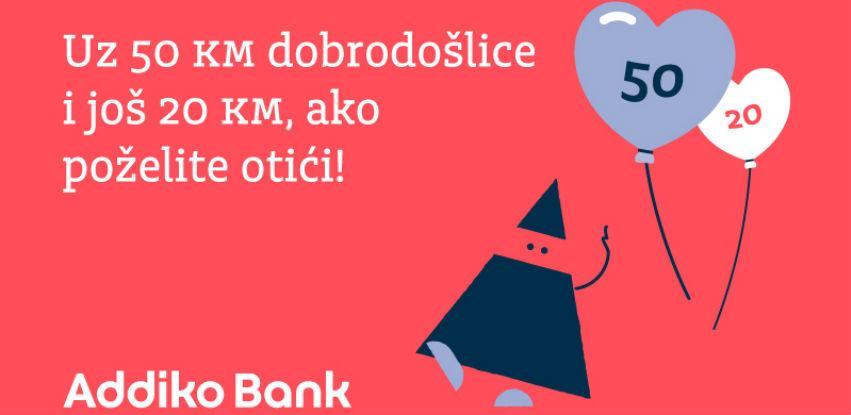 Sigurna u kvalitet usluge Addiko banka novim klijentima daje 50 (+ 20) KM