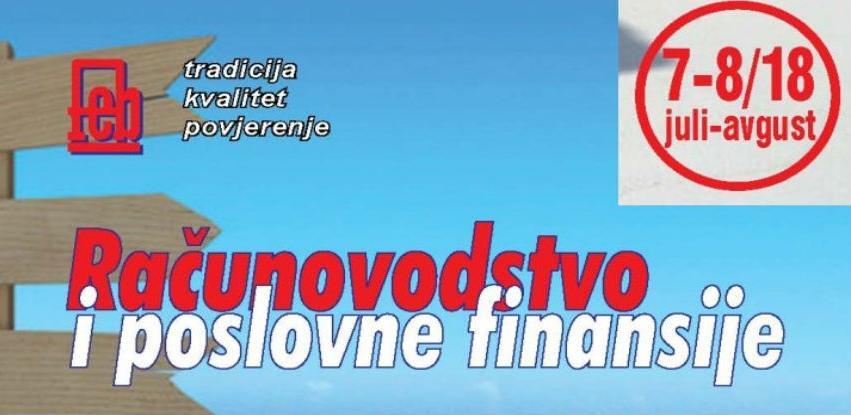"""U izdanju novi broj časopisa """"Računovodstvo i poslovne finansije"""" broj 7-8/18"""