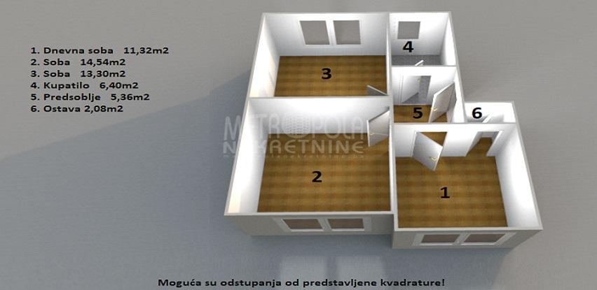 Metropola nekretnine izdaje manji trosoban stan na odličnoj lokaciji, Grbavica