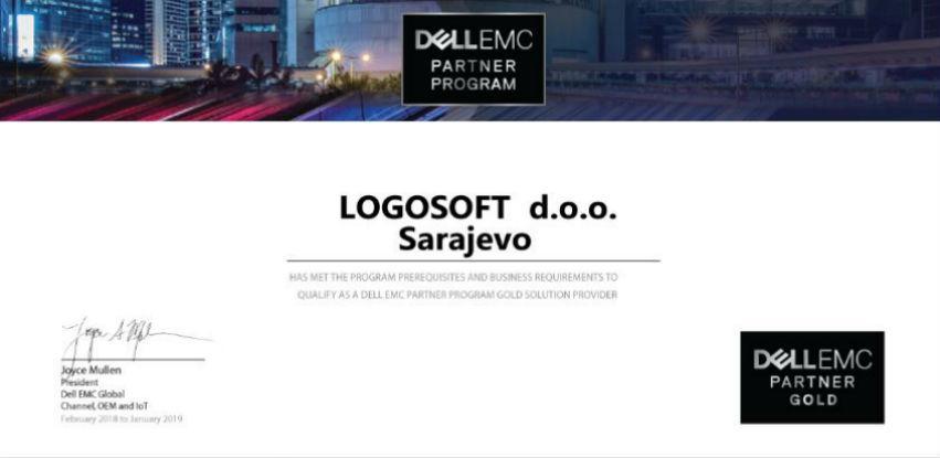 Kompanija Logosoft liderski status potvrdila DELL EMC Gold certifikatom