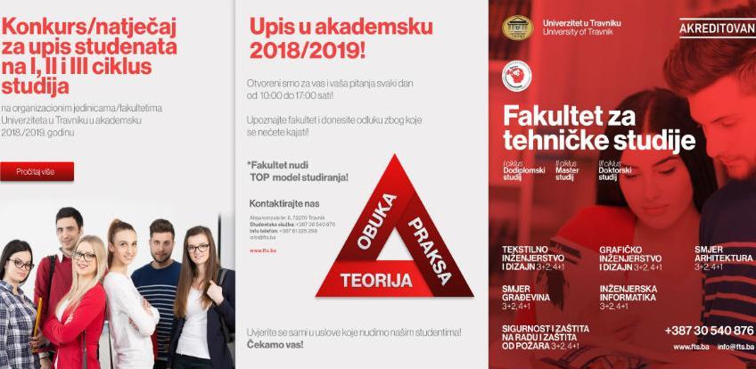 UPIS JE U TOKU! Konkurs/natječaj za upis u akademsku 2018./2019. godinu