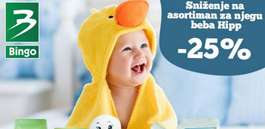 U Bingu sniženje do 25% na asortiman za njegu beba Hipp