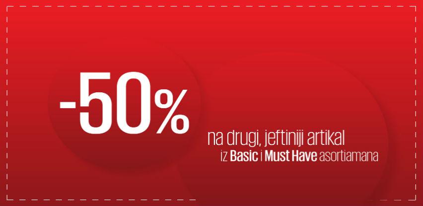 Popust od 50% na drugi jeftiniji artikal iz Basic i Must Have asortimana