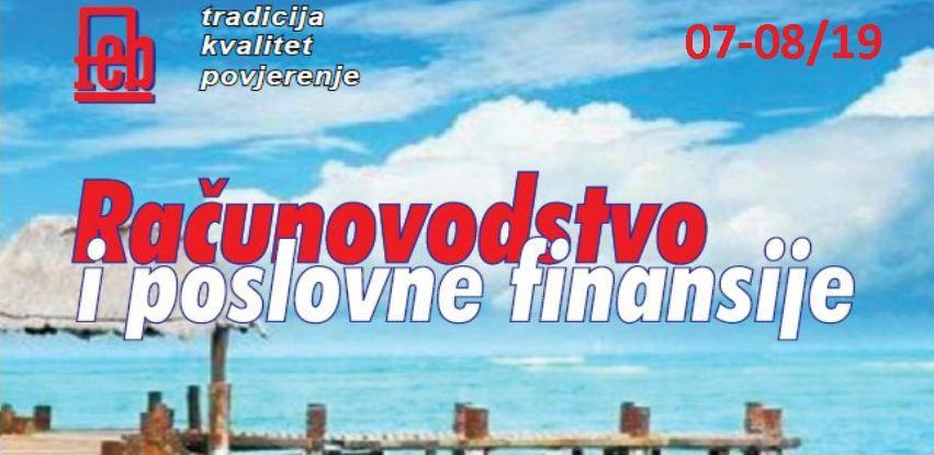 """Izašao je novi broj časopisa """"Računovodstvo i poslovne finansije"""" broj 07-08/19"""