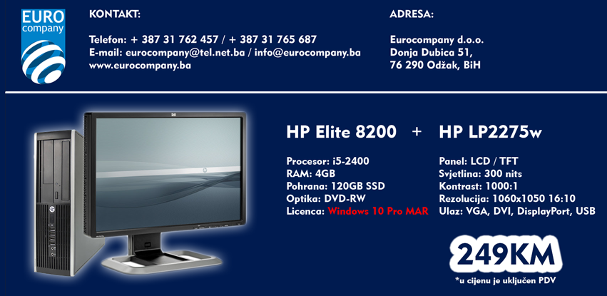 Komplet monitor + računar sa SSD-om i Windows 10 Pro licencom