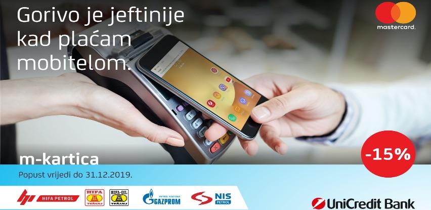 Uštedite 15% od cijene goriva plaćajući m-karticom UniCredit Banke!