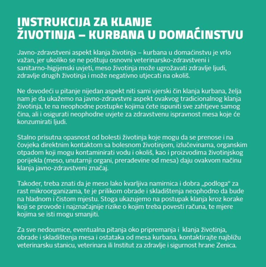 Instrukcija za klanje životinja-kurbana u domaćinstvu